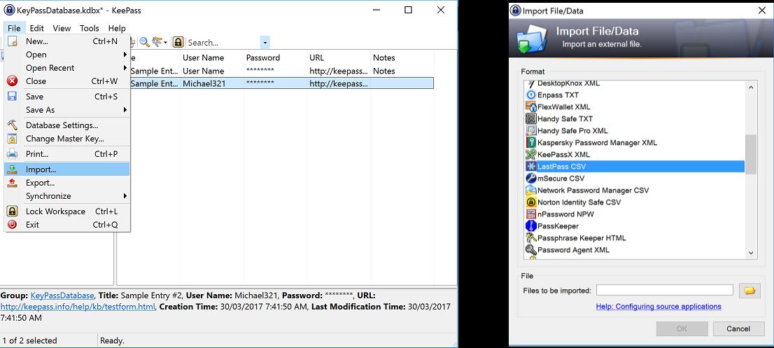 kaspersky password manager export csv