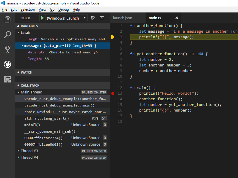 Debug Rust on Windows with Visual Studio Code and the MSVC Debugger