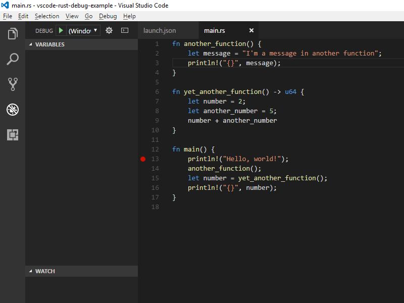 Debug Rust on Windows with Visual Studio Code and the MSVC
